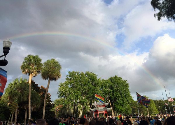 photo of rainbow over lake eola